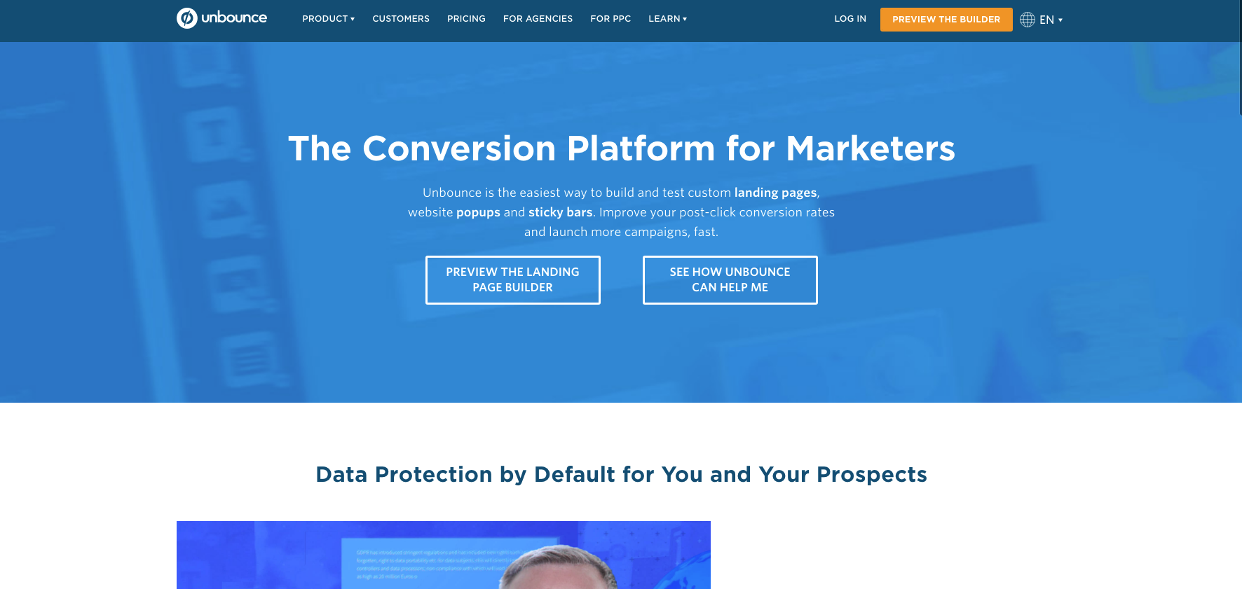 unbounce marketing tool homepage